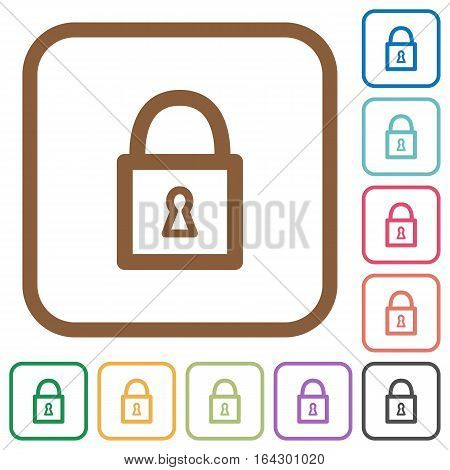 Locked padlock simple icons in color rounded square frames on white background