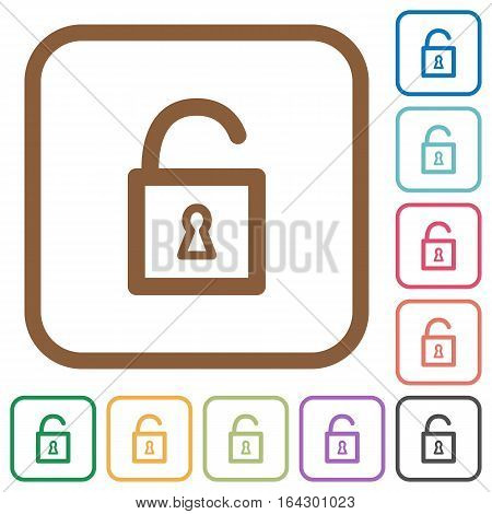 Unlocked padlock simple icons in color rounded square frames on white background