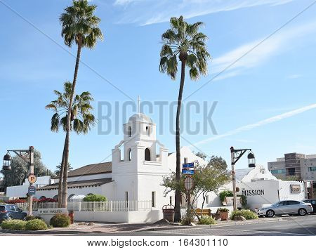 SCOTTSDALE ARIZONA - DECEMBER 9 2016: Old Adobe Mission. Built in 1933 the historic monument is one of only three remaining adobe structures in downtown Scottsdale
