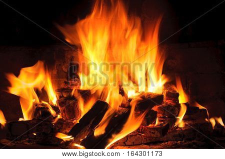 closeup of Flame in a fireplace flames and burning woods