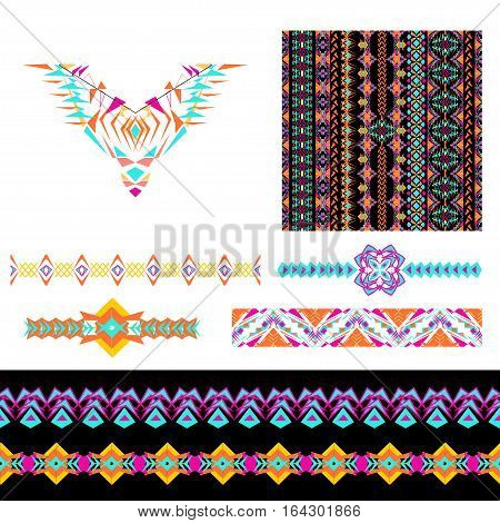 Vector set of decorative elements for design and fashion in ethnic tribal style. Neckline seamless borders and patterns. Collection of pattern brushes inside. Aztec ornaments