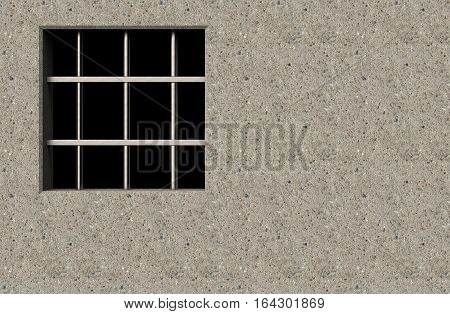Jail window with bars in a wall 3D illustration