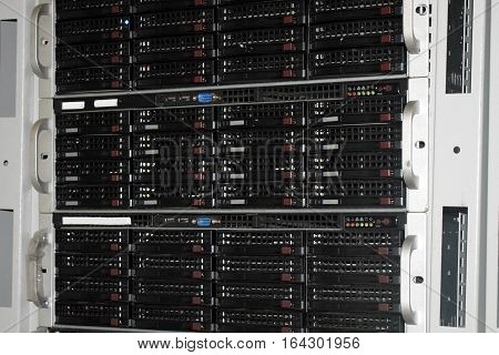 Rack with servers in the server room