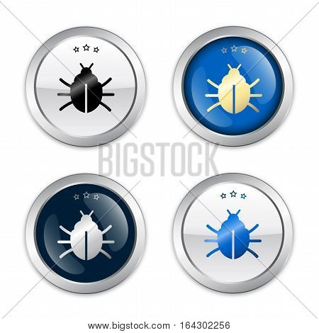 Warning seals or icons with bug symbol. Glossy silver seals or buttons.