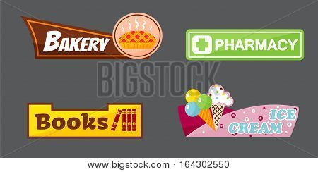 Shop signboard vector different front market set. Vintage elements bakery shop, pharmacy sign, book store and retro ice cream store label billboard.