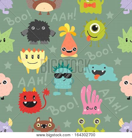 Cute monsters vector seamless pattern illustration isolated