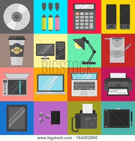 Group computer office equipment. Digital business telecommunication workplace. Mobile internet information device. Multimedia technology tool vector illustration.