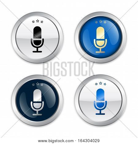 Music seals or icons with microphone symbol. Glossy silver seals or buttons.