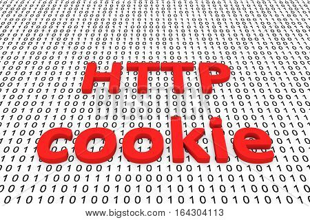 http cookie in the form of binary code, 3D illustration