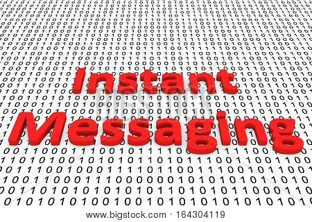Instant messaging in the form of binary code, 3D illustration