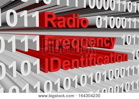 Radio Frequency IDentification in the form of binary code, 3D illustration