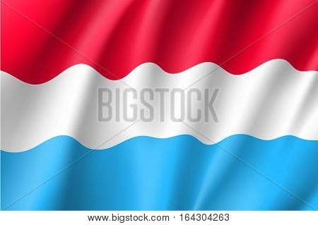 Waving flag of Luxembourg. Vector illustration of 3D icon with red, whit and lightblue colors.