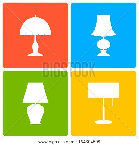 Table or bedside lamp a set of icons. Vector illustration.