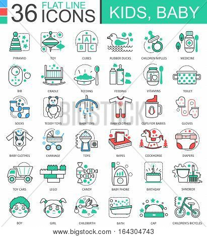 Vector Baby kids flat line outline icons for apps and web design. Baby kid icon