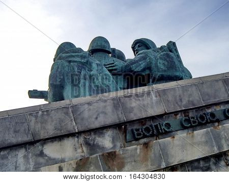 NOVOROSSIYSK, RUSSIA - August 03, 2016: Fragment of the sculptural group (rear view). Memorial