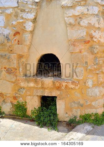 The old village oven outdoor in the historic part of Hersonissos Crete Greece.