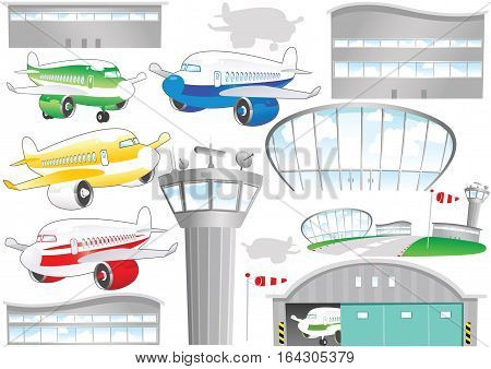 An illustration of various airport and airplane elements.
