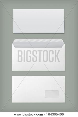 Open paper envelope with transparent window, front and back view. Vector mock-up empty sheet letter or document and white envelope for post mail. Blank template isolated on grey background.