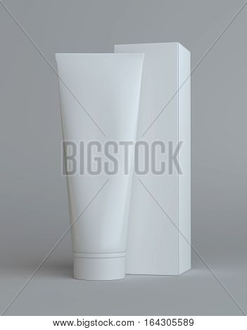 White cream bottle and tall white paper box for cosmetic packaging mock up. Gray background. 3D illustration