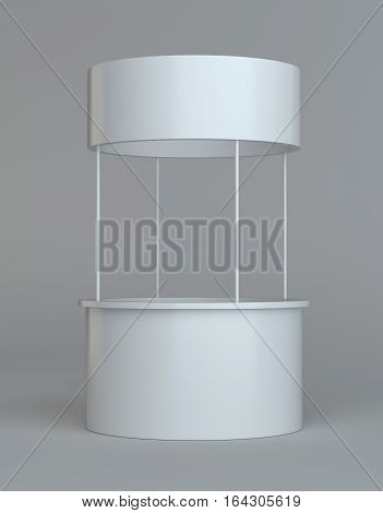 White round POS POI advertising retail stand. Isolated on gray. 3D illustration. Template