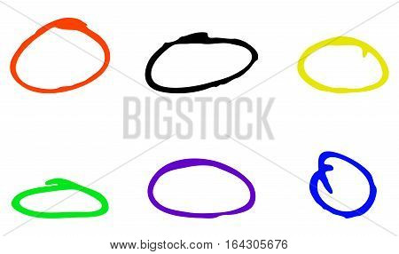 Color circle painted marker to highlight. Marker brush stroke drawing frame vector illustration
