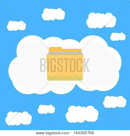 Cloud data in sky. Cloud computing and cloud security with big data vector illustraton