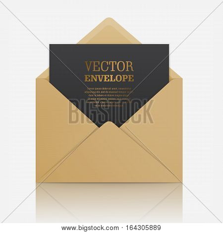 Blank template of brown paper envelope with empty black sheet. Vector mockup open envelope for letter. Symbol of message, mail, email or business document. Realistic icon isolated on white background.