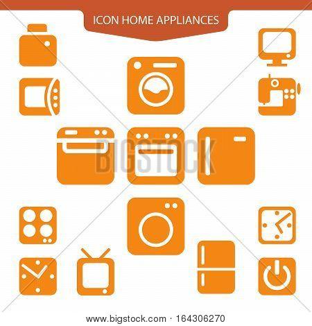 Set orange icons home appliances. washing machine refrigerator microwave, sewing machine, TV, watch button for web