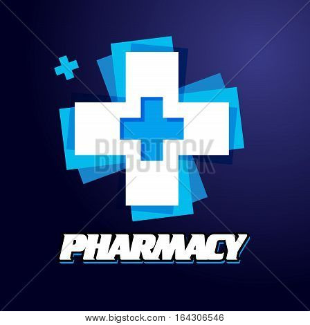 Logo Pharmacies and medicine. Blue plus symbol. Vector template design logo Medical pharmacy.On dark background.