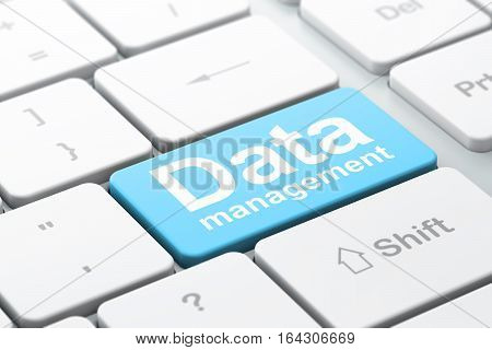 Information concept: computer keyboard with word Data Management, selected focus on enter button background, 3D rendering