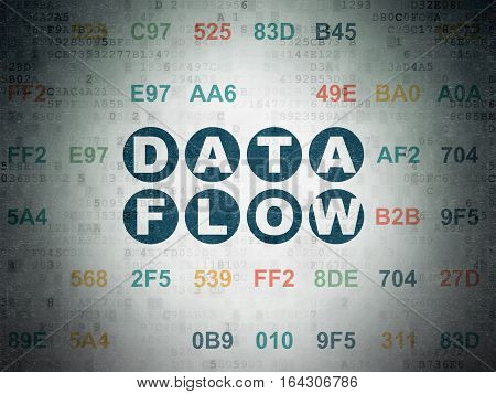 Information concept: Painted blue text Data Flow on Digital Data Paper background with Hexadecimal Code