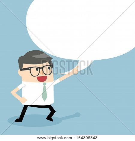 Businessman talking with speech balloon. Businessman pointing up. Businessman holding up his index finger and giving advice. Business character set Male business cartoon.