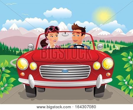 An illustration of a couple driving in a sports car through some mountainous scenery.