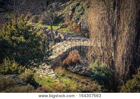 An ancient stone Genoese bridge crossing a stream in the mountains of the Tartagine valley near Mausoleo in the Balagne region of Corsica