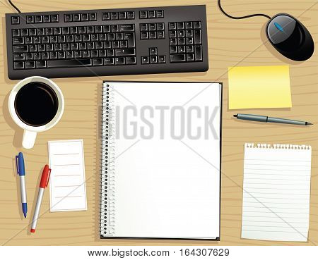A typical office desk with various items on it. Plenty of blank space for your own message.