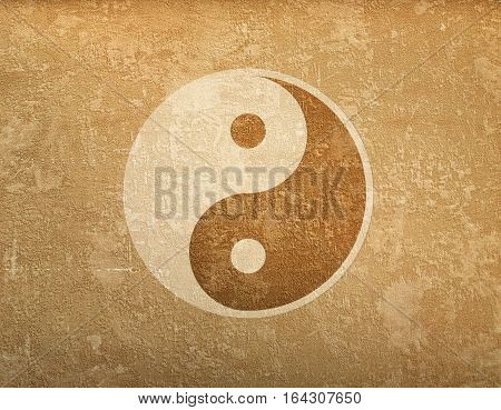 Grunge Background With Symbol Of Ying-yang