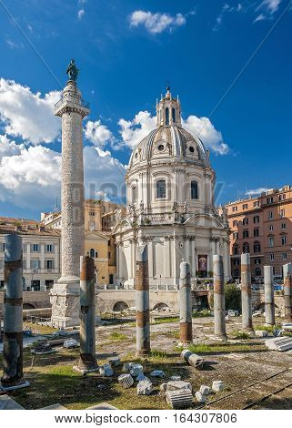 Italy. Rome. Trajan column churches of Santa Maria di Loreto and Santissima Nome di Maria (Most Holy Name of Mary )and ruins of a forum of Trajan.