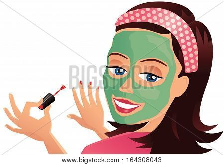 An illustration of a young woman applying nail varnish and wearing a face mud mask.
