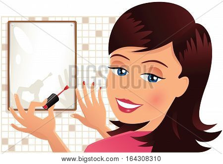 An image of a young woman applying her nail varnish.