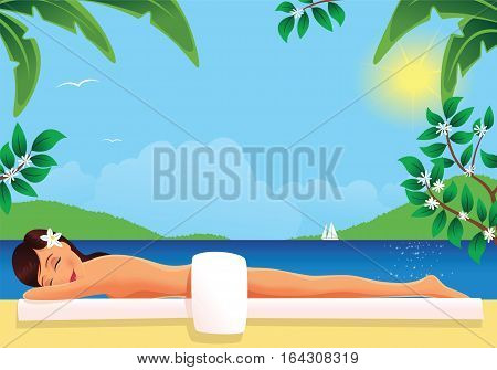An image of a young woman nude sunbathing on a hot sunny day.