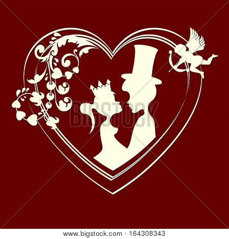 The design of their silhouettes of fairy tale characters Prince and Princess inside the heart