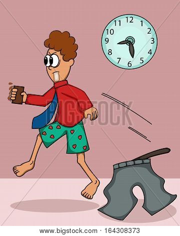 Man in Hurry Forget to Wear His Pants Cartoon Illustration