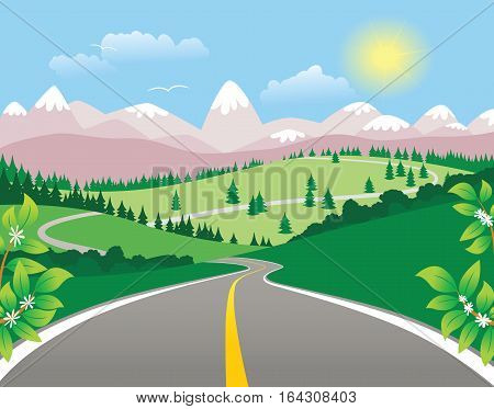 An illustration of a twisting mountain highway on a sunny day.