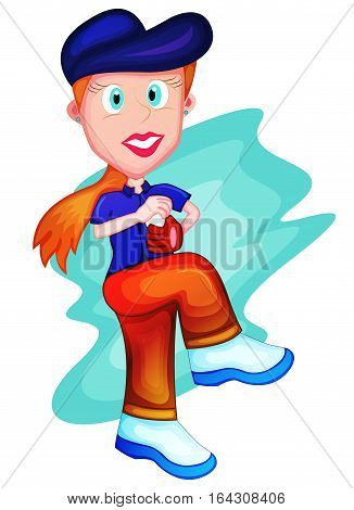 Young Girl Baseball Playing Cartoon Character. Vector Illustration.