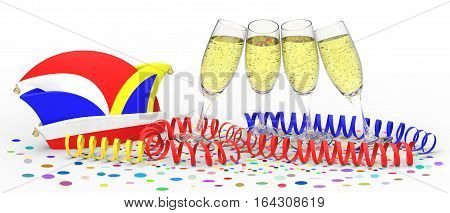 Confetti and party streamer with hat and glasses of sparkling wine on white background 3D rendering
