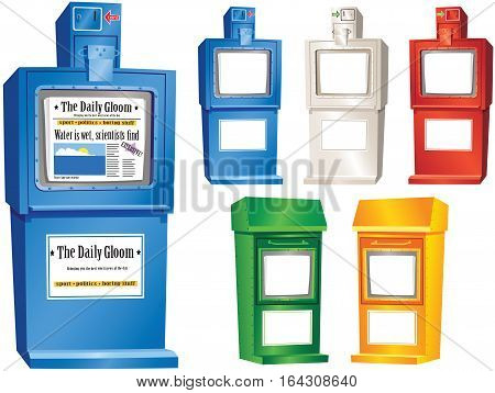 An image of various newspaper vending stands you might find on any street. Five have been left blank for your own message.