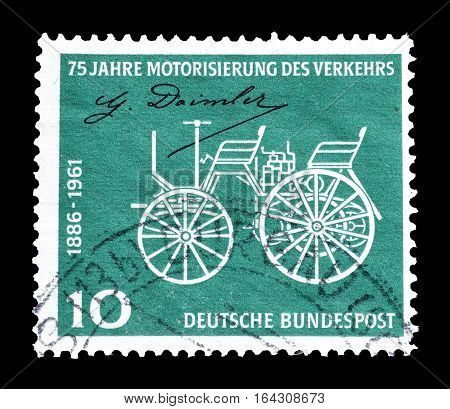 GERMANY - CIRCA 1961 : Cancelled postage stamp printed by Germany, that shows Daimler motor vehicle.
