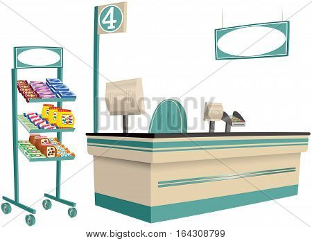 An image of a typical supermarket checkout and display rack.