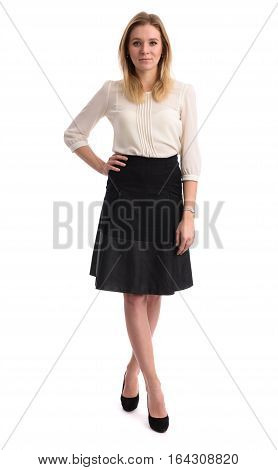 Full Length Portrait Of A Young Pretty Woman