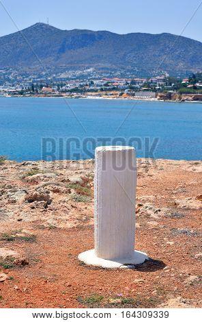 Column on the coast of Cretan Sea near Hersonissos Crete Greece.